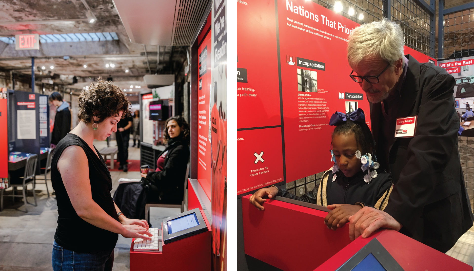 Two images, side by side. On the left, a woman filling out her digital postcard on a touch screen. On the right, a young girl and older man work together to learn about the prison system on a touch screen, out of view.